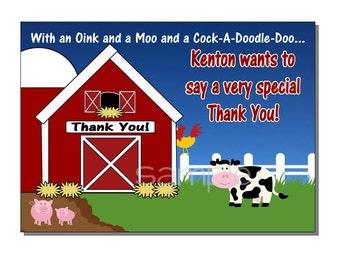 Farm Thank You Card Birthday Party Down on the Farm - DIGITAL or PRINTED
