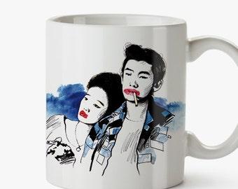Taza Mistery Train - Jim Jarmusch - mug movie cult couples cinema fan art wall art indie hipster cool cinefilo elvis presley