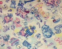 Fat Quarter of Twin Little Stars and Baby Animals, Sanrio fabric, Made in Japan.