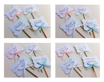 Baby Shower Cupcake Toppers - Sweet Baby / It's a girl / It's a boy / Welcome Little One / Baby Shower
