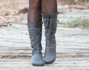 Black Leather Boots,Handmade Boots, Gladiator Boots, Black Boots, Winter Shoes, Stonewash Shoes, Flat Boots, Slouch Boots, , Free Shipping