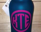 Custom Circle Monogram Water Bottle Decal