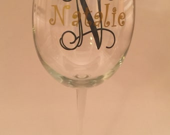 Personalized Monogrammed Name Wine Glass set of 8