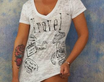 Women's Travel Passport Burnout T-Shirt