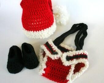 Baby Santa Suit, Christmas Photo Prop, Santa Costume, Baby Christmas Costume, Santa Hat, Santa Diaper Cover, Santa Boots, Christmas Gift