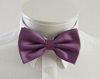 Mens Bowtie Classic Purple Solid Banded Adjustable Pre Tied Bow Tie