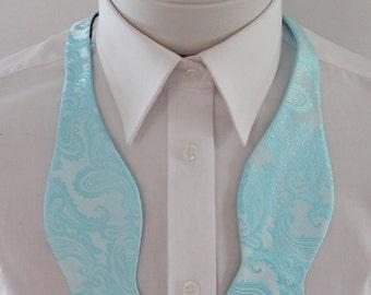 Mens Bowtie Sea Glass Blue  Paisley Self Tie Freestyle Mans Bow Tie
