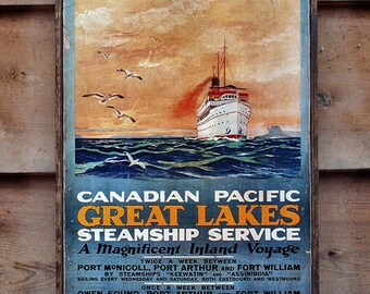 Vintage wooden sign 'Canadian Pacific Great Lakes' Reproduction
