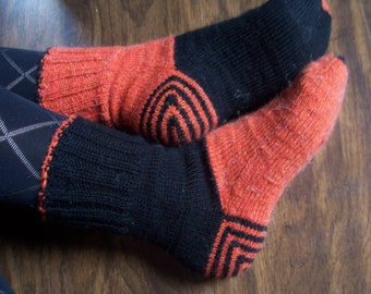 Black/Orange Combination  Socks , Mid Length, Knitted Ladies / Women Warm, Woollen Halloween