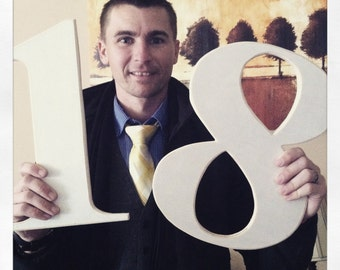 14 inch, 2 digit wooden numbers. Made to order, just for you! Great for celebrations of all kinds!