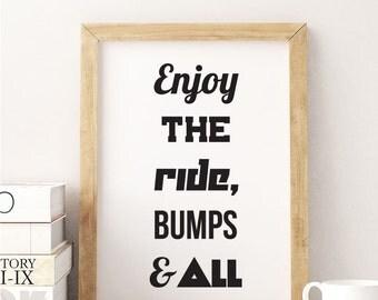 Enjoy the Ride Print. Typography Bike Print. Enjoy the Ride, Bumps & All Wall Print