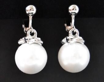 Large Pearl Drop Earrings, Pearl Clip Earrings, Pearl Clip On Earrings, Clip Earrings, White Pearl Earrings, Pearl Bridal Earrings