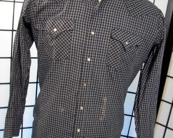 Ely Cattleman men's blue plaid long sleeve western shirt large l