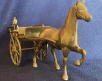 Vintage Cast Brass Horse DrawnTrap or Cart A Great Desk or Shelf Ornament