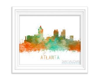 Atlanta Skyline Art Print Georgia Art Atlanta Poster Watercolor Cityscape Painting Atlanta Skyline Illustration Atlanta Wall Art (No.127)