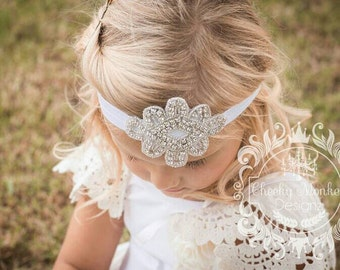 Rhinestone Headband ~ Beaded Crystal Headband ~ Baby Toddler Girls Headband ~ Vintage Headband ~ Flower Girl Headband ~ Gatsby Headband