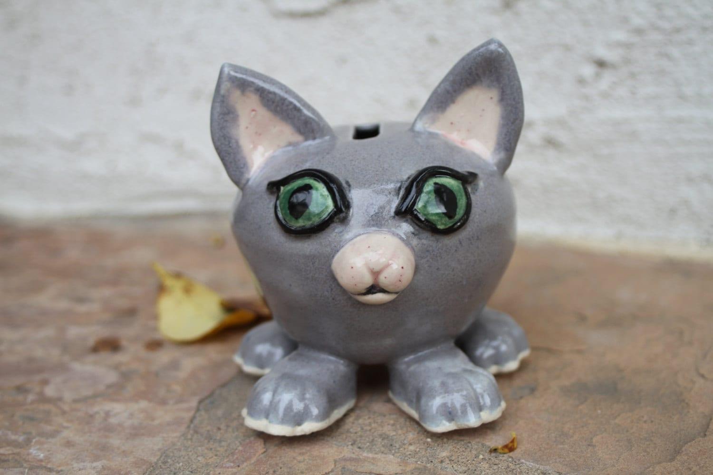 Grey cat piggy bank handmade ceramic piggy bank coin bank for Handmade coin bank