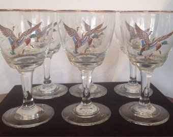 6 Vintage Gold Rim Wine Glasses Geese Motif