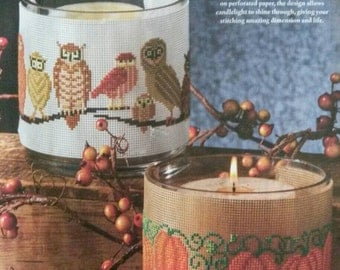 Owl and Pumpkin Candle Bands Cross Stitch Pattern Fall Halloween