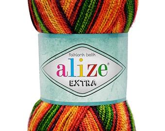 Alize EXTRA Folklorik Batik, Pack of 5 skiens High Quality Turkish Yarn, 100% Acrylic. Free Shipping