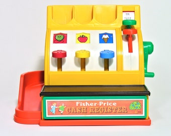 Fisher Price Cash Register-Fisher Price Toys-1974-Made in Belgium-Kids Room-Vintage Toy-Play Shop-Home Decor