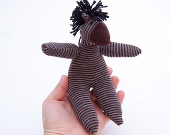 Zebra Sock Toy - Stuffed Animal Doll, Small Personalized Gift for Baby or Kid, Soft and Handmade - Brown