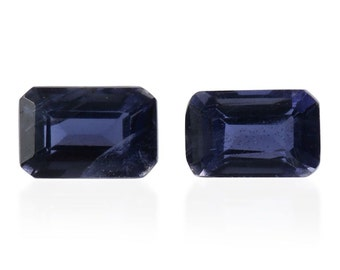 Catalina Iolite Loose Gemstones Set of 2 Octagon Cut 1A Quality 6x4mm TGW 0.85 cts.