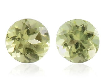 Hebei Peridot Loose Gemstones Set of 2 Round Cut 1A Quality 4mm TGW 0.45 cts.