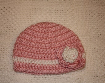 Pink Girl Newborn Crochet Hat with Flower