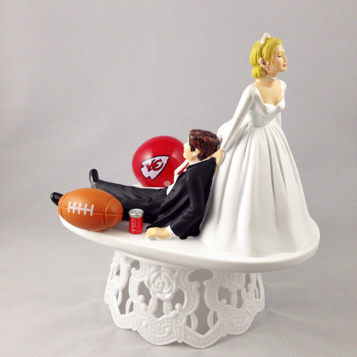 Handmade Wedding Cake Topper Funny NFL By CreationsByDhyani