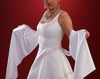 Satin Wrap Bridal Shrug Satin Shawl E1018A white ivory black