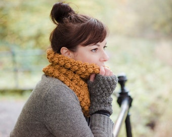 This one of a kind single loop cowl is hand made with my own pattern.
