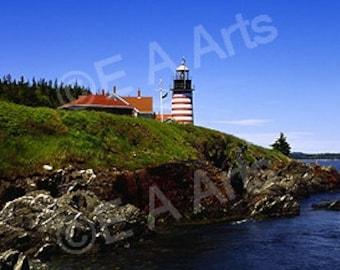 West Quoddy Light Lubec Maine-Panoramic Photo  Coastal Maine Panoramic Photography Paul Vose E A Arts