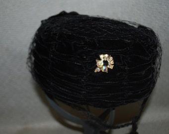 Black Velvet Hat with Aurora Borealis Crystal Adornmant