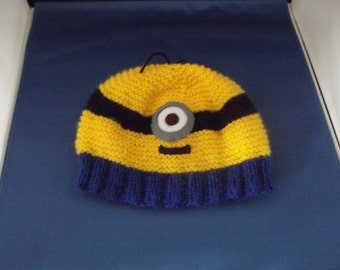 Hand knitted character hat.