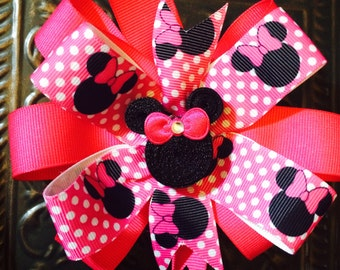 Hot Pink Minnie Mouse Bow/ Clip...pink polka dots