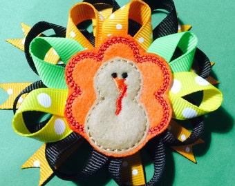 Turkey hair bow...Thanksgiving hair bow