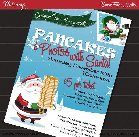pancake breakfast with santa flyer    photos with santa