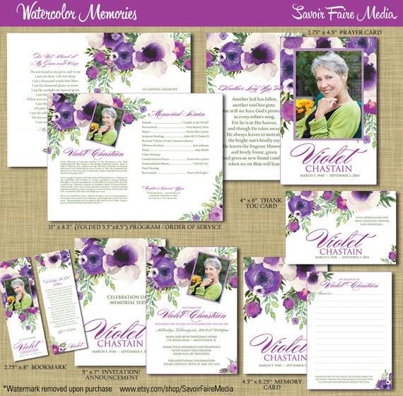wedding blessing order of service template - funeral memorial order of service program set printable