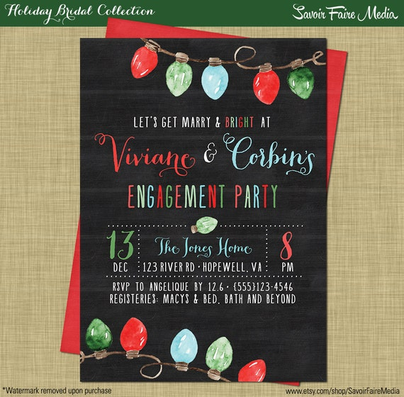 Holiday Engagement Party Winter Chalkboard Modern Invitation – Christmas Engagement Party Invitations