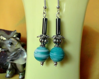 Pop of Blue- beaded danglers / Handmade earrings