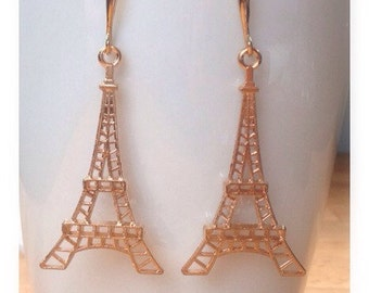 Rose gold eiffel tower earrings