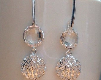 Round silver filigree and clear crystal earrings