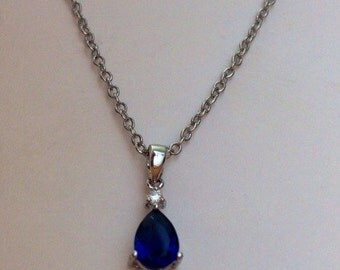 Silver blue saphire and cubic zirconia minimalist charm necklace
