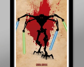 Grievous Inspired - Clone Wars Minimalist Movie Poster - General Grievous - Home Decor