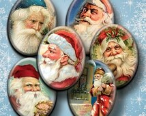 Santa Claus Vintage Christmas digital collage sheet 13x18mm 18x25mm 22x30m 30x40mm oval images for pendant cameo printable download cabochon