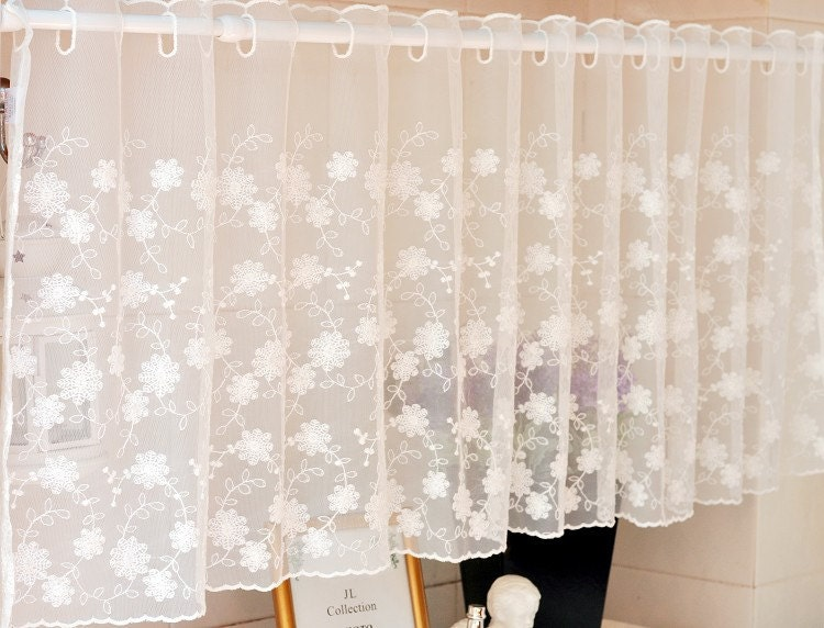 White Embroidery Lace Valance Cafe Curtain 59 Wide