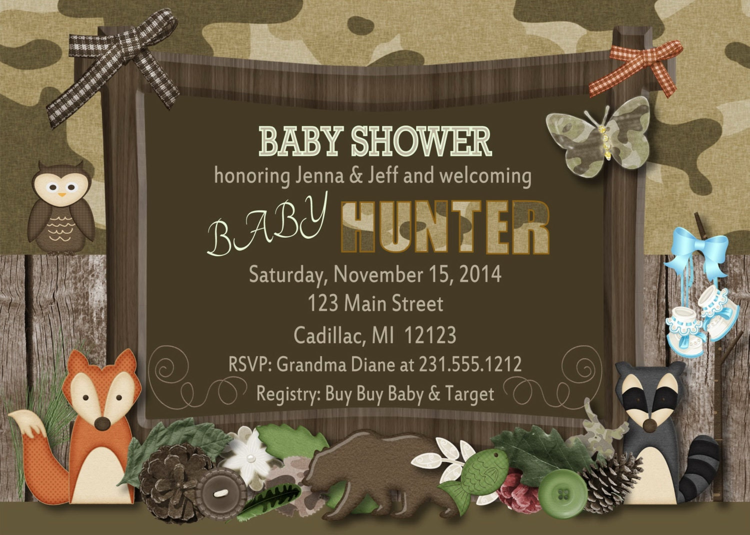 Woodland Baby Shower Invitation Fall Camo Theme Baby Shower