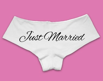 Just Married Underwear Panties | Bride Underwear. Bride Panties. Bride Gift. Honeymoon Gift.