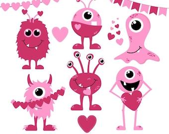 80% OFF SALE Valentine's Day Clipart, Valentine Clip Art, Monster Clipart, Love Monsters, Digital Monsters